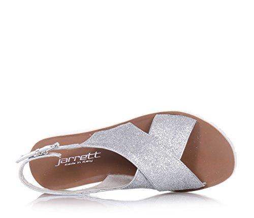 JARRETT - Sandale argent en glitter et cuir, made in Italy, fermeture avec boucle à l'arrière, fille, filles