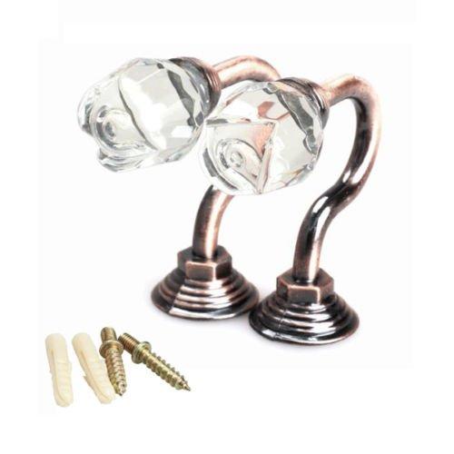 Satin Bronze Cast Metal Letter (2PCS Crystal Robe Hooks - Design Coat, Hat, Utility and Towel Hook for Bathroom & Kitchen - Zinc Alloy Wall Hanger)