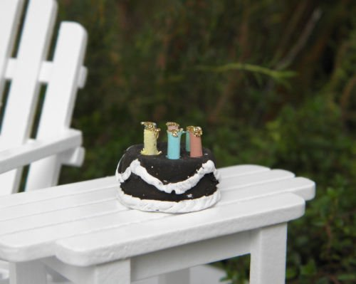 Miniature Dollhouse FAIRY GARDEN Accessories ~ TINY Chocolate Birthday Cake NEW