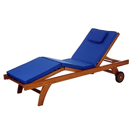 All Things Cedar TL78 B Teak Chaise Lounge Chair With Blue Cushion