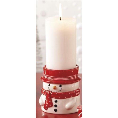 Colonial Candle Snowman Pillar Candle Holder Gift Set with Peppermint 3x6 Candle