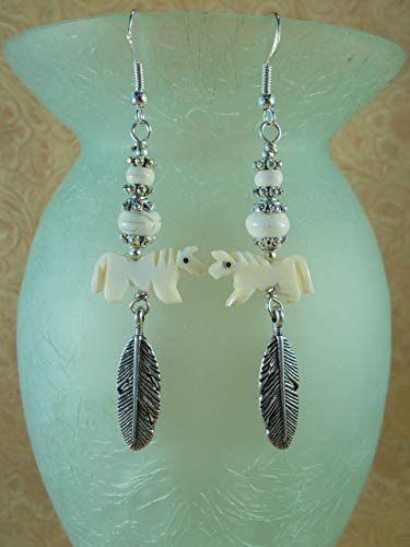 Western Rodeo Cowgirl Earrings - OxBone Horse Fetish Beads with White Howlite - Southwest Style