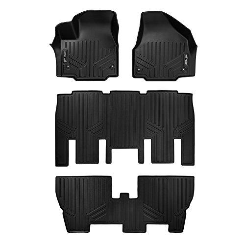 SMARTLINER Floor Mats 3 Row Liner Set Black for 2017-2018 Chrysler Pacifica 8 Passenger Model Only (No Hybrid Models)