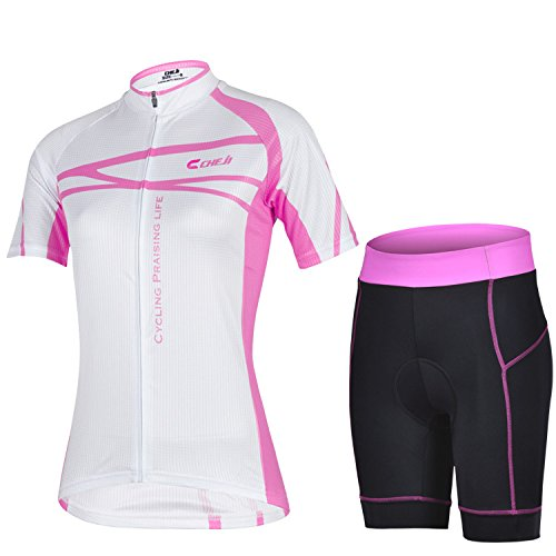 Koson-Man Women's Quick-Dry Cool Short Sleeve Cycling Jersey 3D Padded Short Set Devil Style (Color Pink Size M)