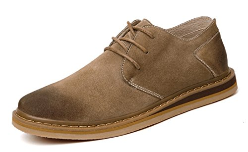 TDA Mens Fashion All Match Leather Working Leisure Oxford Shoes Khaki