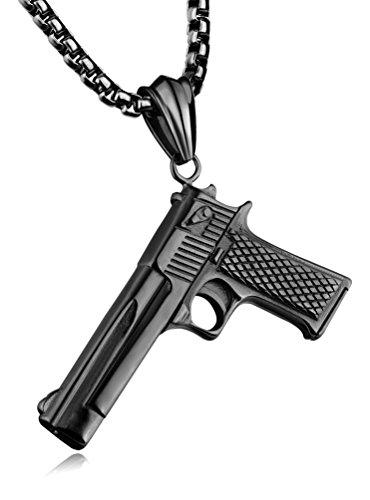 Fusamk Punk Rock Titanium Steel Gun Tag Pendant 22