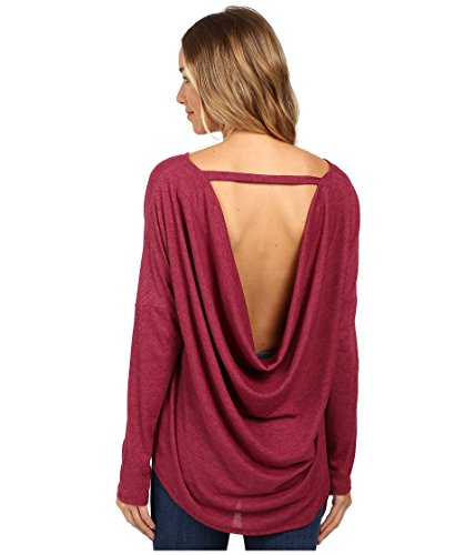 Culture Phit Women's Chavonne Cowl Back Top Burgundy T-Shirt MD