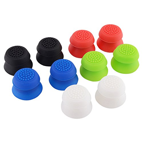 eXtremeRate-Sweat-Free-Anti-slip-Pack-of-10-5-Colors-Mix-Silicone-Rubber-Precision-Platform-Raised-Analog-Sticks-Thumb-Grips-for-PlayStation-PS4-PS4-Slim-PS4-Pro-Controller-Thumbsticks