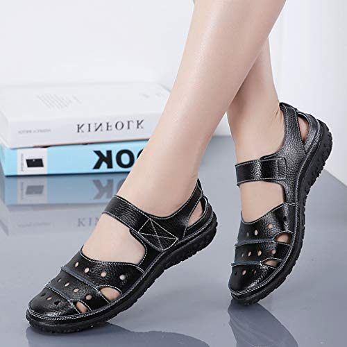 f9354c713a3c4 Women's Slip On Loafers Hollow Out Breathable Roman Sandals Casual Comfort  Walking Flats Shoes (Black, 5.5 M US)
