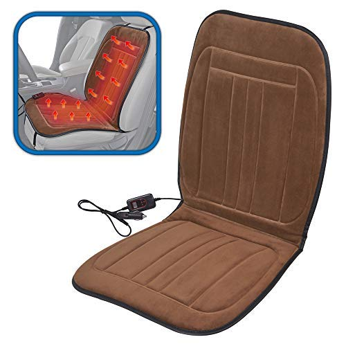 ComfyThrones Car Seat Cushion Warmer 12V w/Digital Temperature and Timer - Soft Padded Velour - Instant Heat Seat Cushion for Car (Plush Brown)