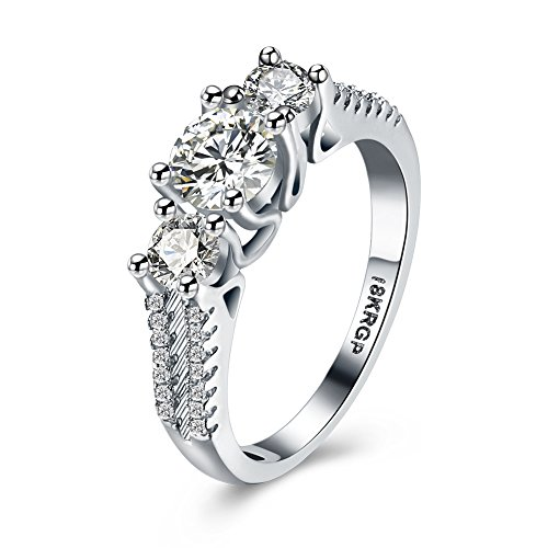 Eternity Love Women Wedding Engagement Rings 18K Gold Plated Cz Diamonds Bands Solitaire Princess Cut Promise Anniversary Bridal Jewelry Infinity Love for Her, 9 (Jewelry 1 Cent compare prices)