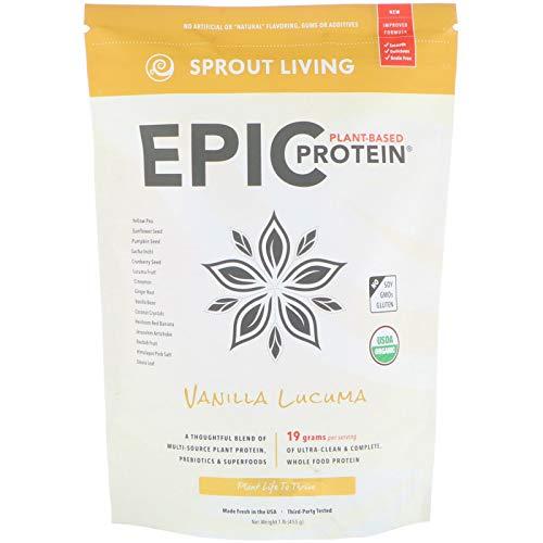 Sprout Living Epic Protein Powder, Vanilla Lucuma Flavor, Organic Plant Protein, Gluten Free, No Additives, 19 Grams Clean Vegan Protein (1 Pound,13 Servings)