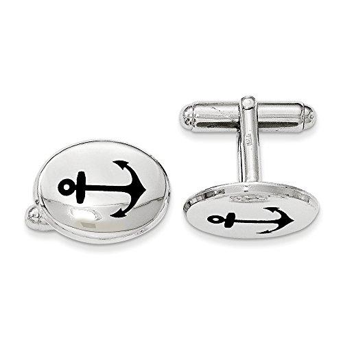 Sterling Silver Polished Cufflinks Oval (Men's Sterling Silver Black Enamel Anchor Oval Cuff Links)