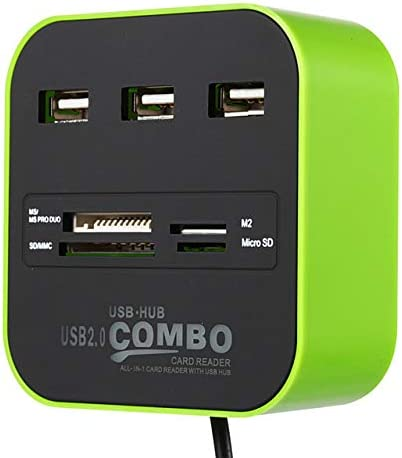 ROWEQPP USB HUB Combo All in One USB 2.0 Micro SD High Speed Card Reader 3 Ports Adapter Connector for Tablet PC Computer Laptop Green