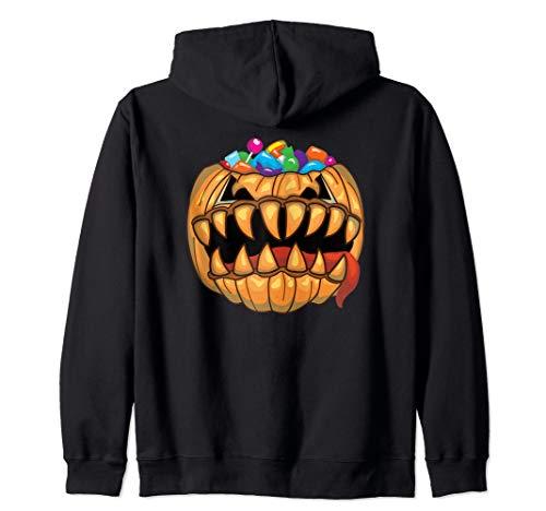 Loot Filled Pumpkin (Monster Halloween Pumpkin Candy Filled Tricky Treat T-Shirt Zip)