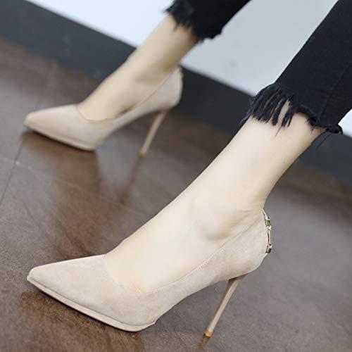 YMFIE Zapatos de tacón Alto Sexy y Elegante con Punta de tacón Alto Sexy Solo Zapatos de Fiesta A