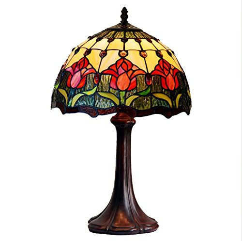 Iffany Style Table Lamp / 12 Inch Red Tulip Pattern Glass Lampshade Desk Lamp, Living Room Bedroom Bar Decoration Lamp 110-260V/E271,MAX 40W ()
