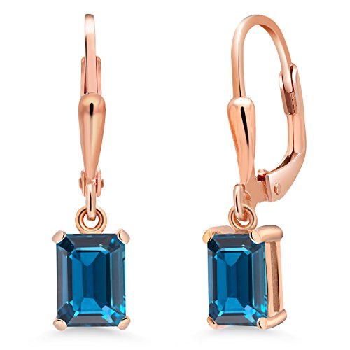 Gem Stone King 2.28 Ct Emerald Cut London Blue Topaz 18K Rose Gold Plated Silver Earrings (Rose Gold London Blue Topaz)