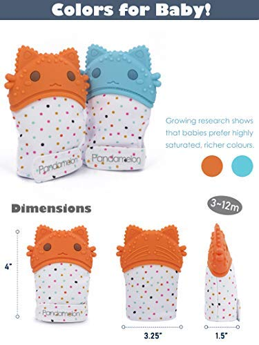 Teething Gloves 0-12 Months Pair of 2 Teether Mitten to Relief Teething Pain for Baby//Infant by Pandamelon BPA Free Baby Teething Mittens Rabbit Themed Mitts for Boys and Girls