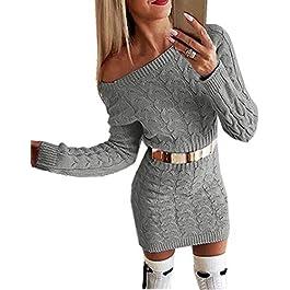Flying Rabbit Women's Long Sleeve Sweater Dress, Women's Knitted Dress, Off-Shoulder, Round Neck, Monochrome, Flim, Party Dress, Warm Jumper Dress, Elegant Midi Dress