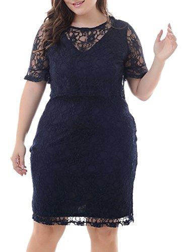 Nemidor Women's Double Layer Overlay Lace Bodycon Midi Plus Size Cocktail Dress (Navy, 26W)
