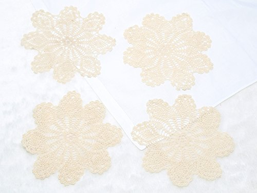 Handmade Crochet Round Cotton Lace Table Placemats Doilies for Cup/Glass Value Pack [Set of 4], by Applecrumblez - Home