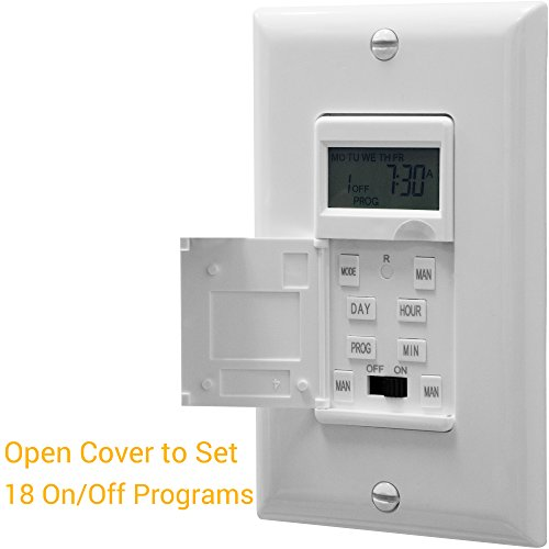 Enerlites HET01-C Programmable Timer Switch Digital Timer Switch for Lights, Fans, Motors, Timer in wall, 7-Day 18 ON/OFF Timer Settings, NEUTRAL WIRE REQUIRED, White by Enerlites (Image #1)