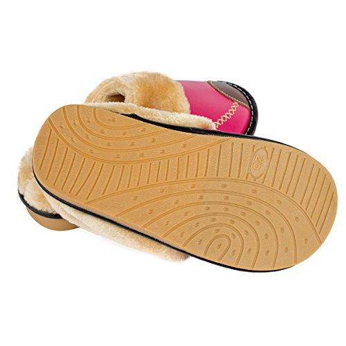 Haisum 8831-w - Zapatillas de estar por casa de Piel Sintética para mujer rosa (b)