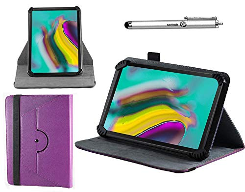 Navitech Purple Leather Case Cover with 360 Rotational Stand and Atlas Stylus Compatible with The Dragon Touch K10 10.1