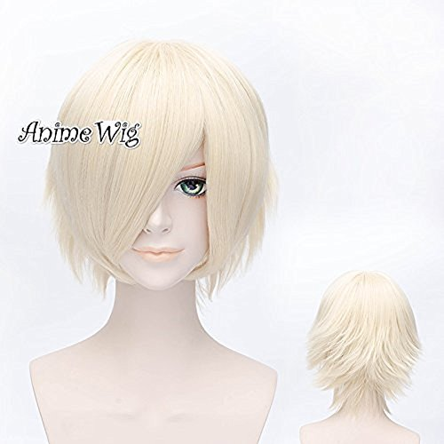 Light Blonde Short 12 Inches/30CM Straight Women Layered Cosplay Wig + Wig Cap (Light Blonde Wig)