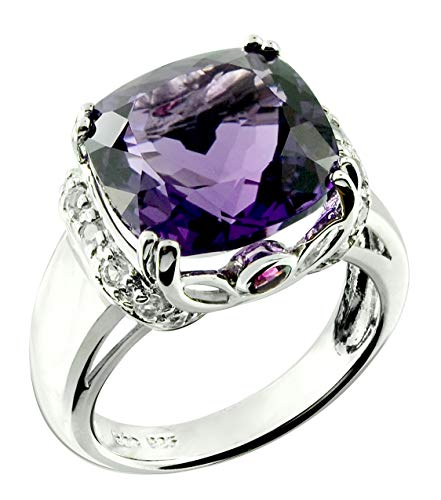 RB Gems Sterling Silver 925 Ring Genuine GEMS 7 Cts, Cushion 12 mm Rhodium-Plated Finish Cocktail Style (8, ()