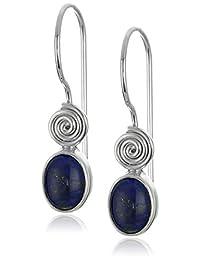 Sterling Silver Lapis Vertical Oval Earrings by Sajen