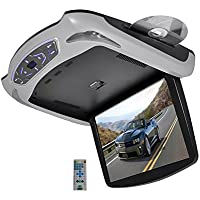 Pyle 13.3 Roof Mount TFT LCD Monitor Built In DVD/USB/SD Player with Wireless FM/IR Transmitters & Included 3 Color Skins (Gry/Blk/Tan)