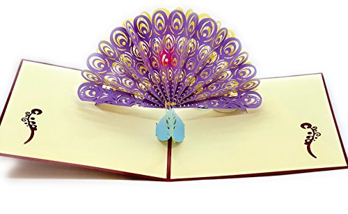 Musical Valentines Day Cards - Peacock 3D Musical Pop up Card for Birthdays, Weddings, Valentines Day Card (Purple, Showing Its Tail) (Peacock)