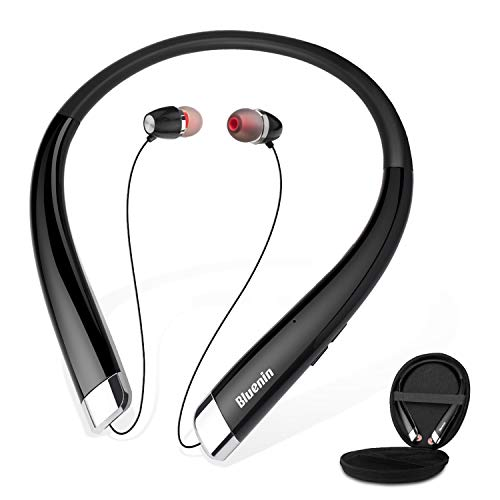 Bluetooth Headphones, Bluenin Wireless Neckband Headset with Auto Retractable Earbuds, Sports Sweatproof Noise Cancelling Stereo Earphones with Mic (Black)
