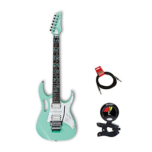 (Ibanez JEM70V Steve Vai Signature 6 String Solidbody Electric Guitar in Sea Foam Green with Case, Clip On Guitar Tuner and Guitars Cable)