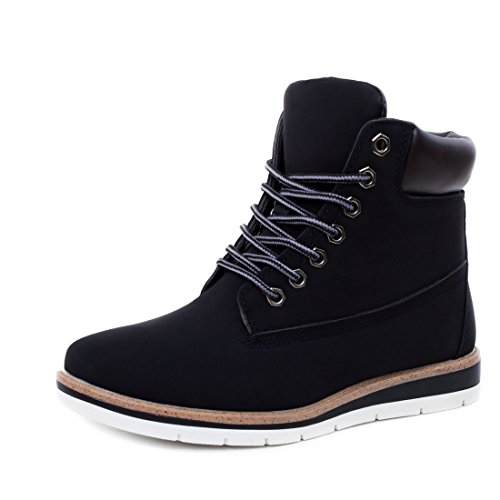 838357fbb984 Unisex Damen Worker Boots Schnür Stiefeletten High Top Sneaker in  Lederoptik Schwarz