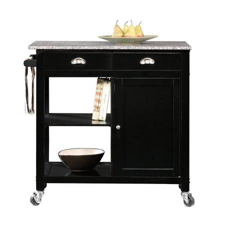 Better Homes and Gardens Black Granite Kitchen Cart Islands