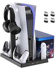 Suporte de ventoinha de refrigeração para console PlayStation 5 e PlayStation 5 Digital Edition, estação de carregamento de controlador duplo para controle PS5 Dualsense com indicadores LED e 15 cartões de armazenamento