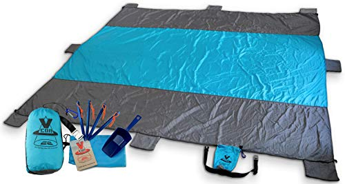 Vcon22 Beach Blanket Sand Proof 10x9ft Soft Quickdry with Sand Shovel Bottle Opener 8 Sand Pockets Stakes Zippered Pocket. Oversized Outdoor Mat for Picnic Camping Hiking or Festivals