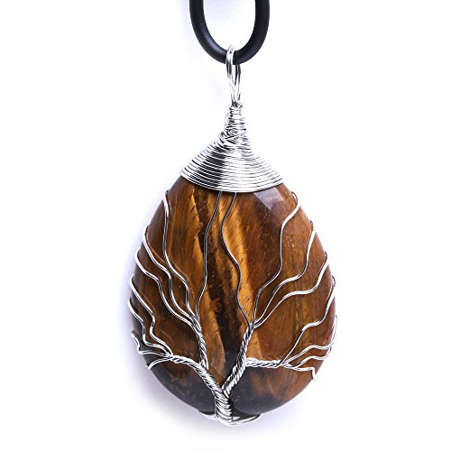 (HongJinTian Wire Wrapped Tree of Life Natural Grown Tiger Eye Gemstone Teardrop Pendant Necklace Healing Crystal Chakra Jewelry for Women)