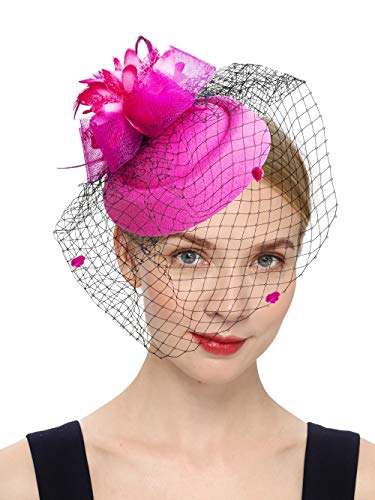 Flowers And Veil (Cizoe Fascinator Hair Clip Pillbox Hat Bowler Feather Flower Veil Wedding Party Hat Tea)