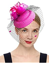 af61f96a3 Fascinator Hair Clip Pillbox Hat Bowler Feather Flower Veil Wedding Party  Hat Tea Hat