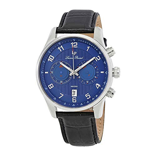Lucien Piccard Men's LP-11187-03 Navona Stainless Steel Watch with Black Leather Band ()