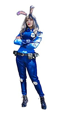 DAZCOS US Size Rabbit Judy Hopps Cosplay Costume with Badge Ears Tail
