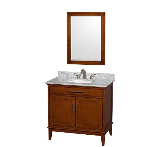 Wyndham Collection Hatton 36 inch Single Bathroom Vanity in Light Chestnut, White -