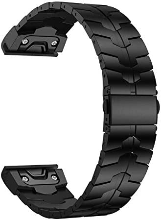LDFAS Fenix 5 6 Band, 22mm Titanium Metal Quick Fit Watch Strap with Enhanced Durability Version Compatible for Garmin Instinct Fenix 5 Plus Fenix 6 Pro Forerunner 935 945 Smartwatch, DLC- Black