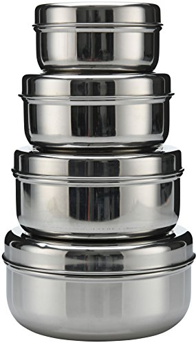 (18/8 Stainless Steel 4-pack nesting Lunch Box and food storage container set - Eco friendly, Dishwasher Safe, BPA free, Great for snacks, food storage or leftovers (10oz - 30oz))
