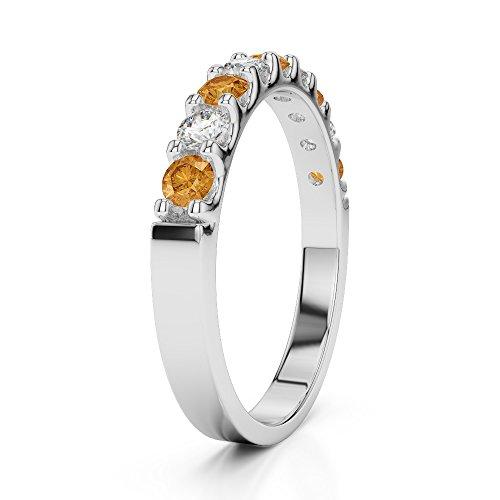 Or blanc 18carats 0.29CT G-H/VS Certifié Coupe ronde Citrine et diamants Agdr-1108