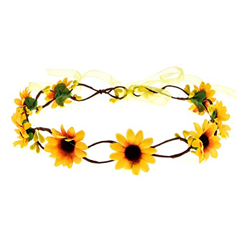 DreamLily Wedding Festivals Floral Hair Band Adjustable Ribbon Daisy Flower Headband Crown BC38 (Yellow) -